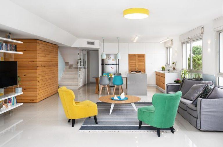 אלכסון זה לא אסון: עיצוב דירת קבלן בחיפה